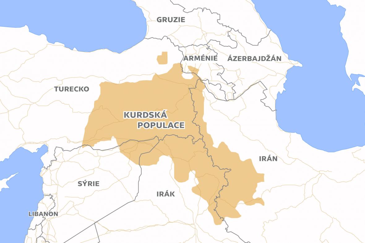 Oblast obývaná kurdskou populací