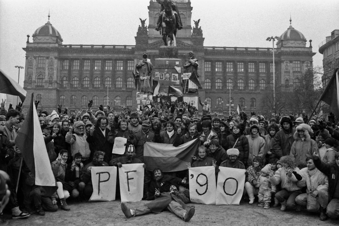 Atmosféra listopadových dní 1989 na Václavském náměstí