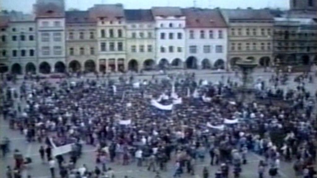 České Budějovice - manifestace v roce 1989