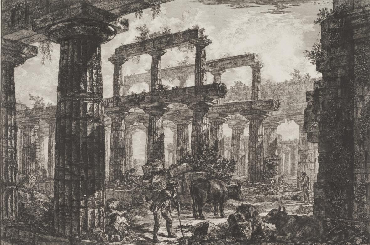 Giovanni Battista Piranesi / Pohled na celu tzv. Neptunova chrámu, z cyklu Paestum, 1778