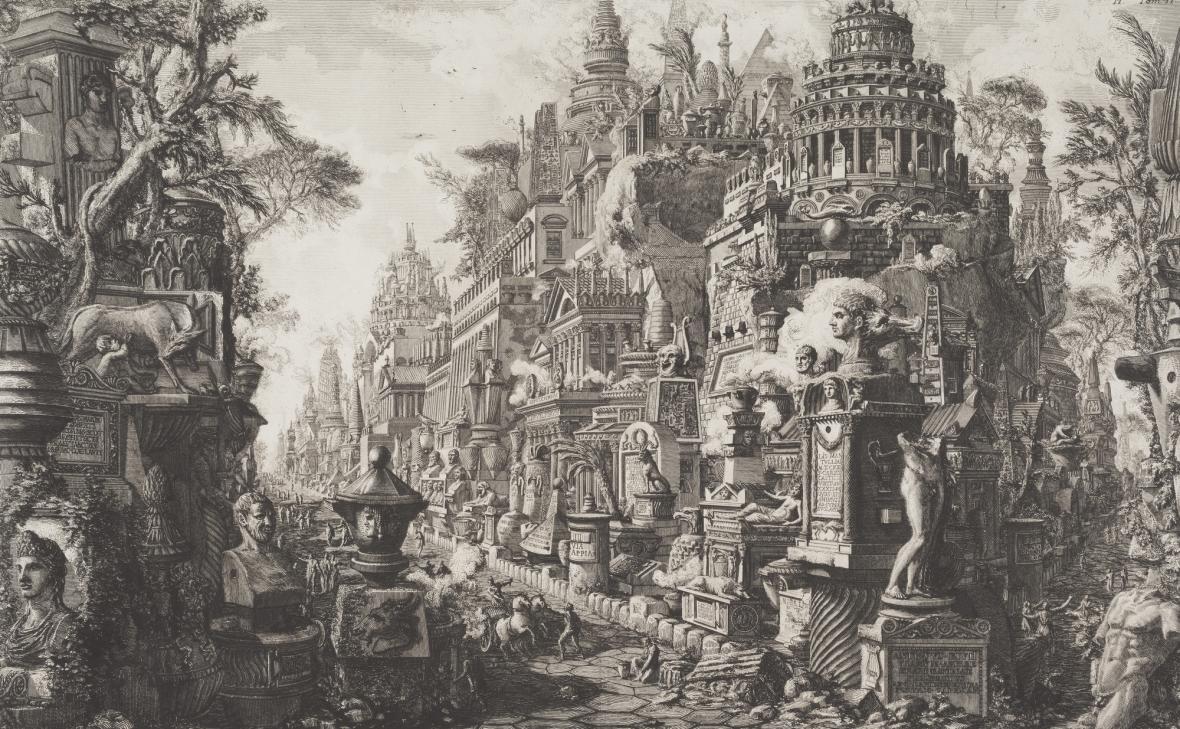 Giovanni Battista Piranesi / Pohled na křižovatku antických cest Via Appia Antica a Via, 1756
