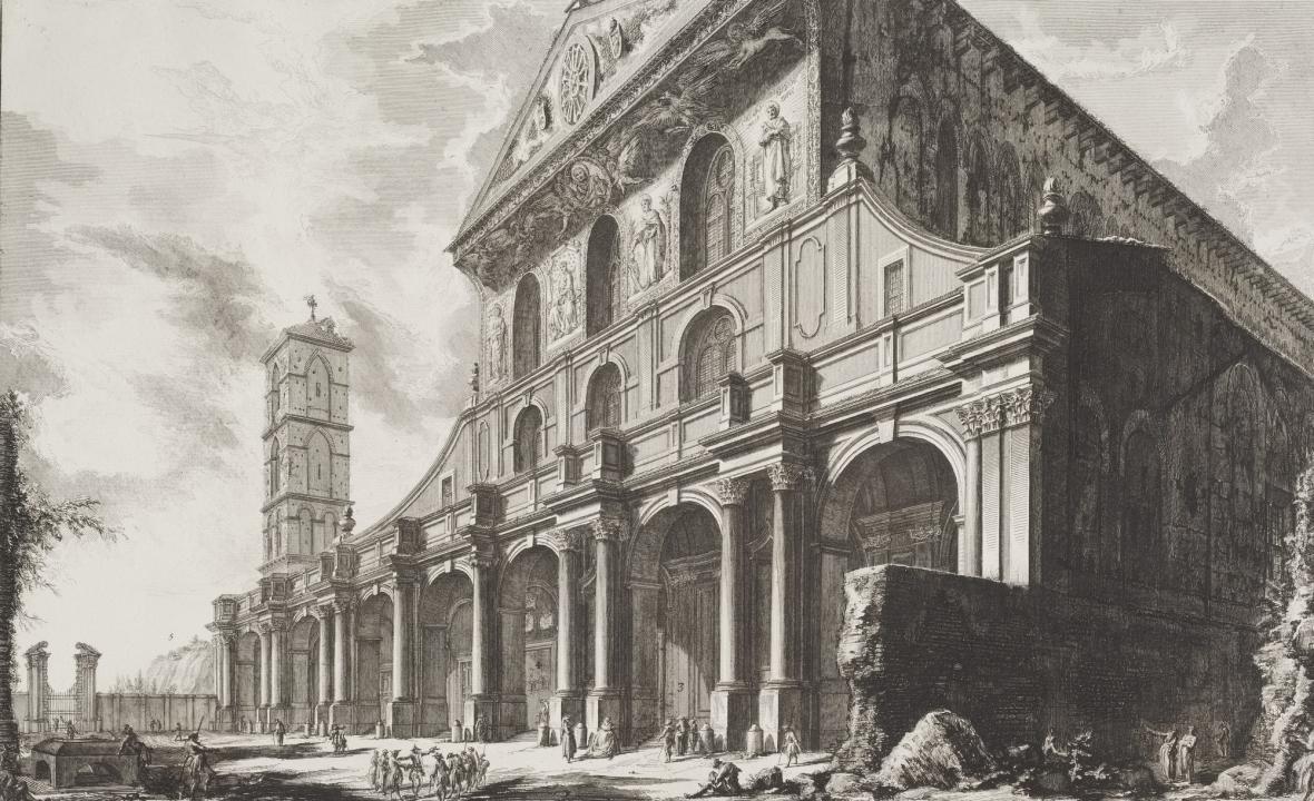 Giovanni Battista Piranesi / Veduta s bazilikou San Paolo fuori le Mura, z cyklu Římské veduty, 1757-58