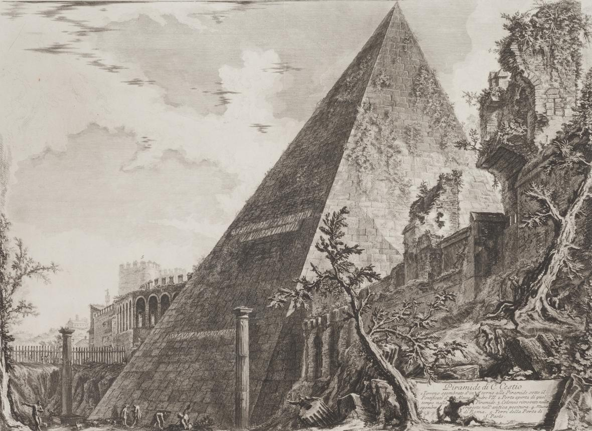 Giovanni Battista Piranesi / Pyramida Gaia Cestia, z cyklu Římské veduty, 1761