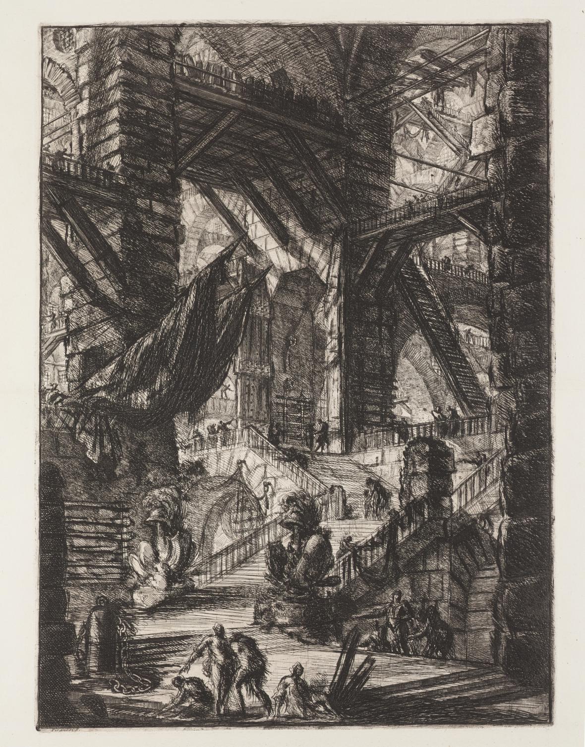 Giovanni Battista Piranesi / Schodiště s trofejemi, z cyklu Žaláře, 1749-50