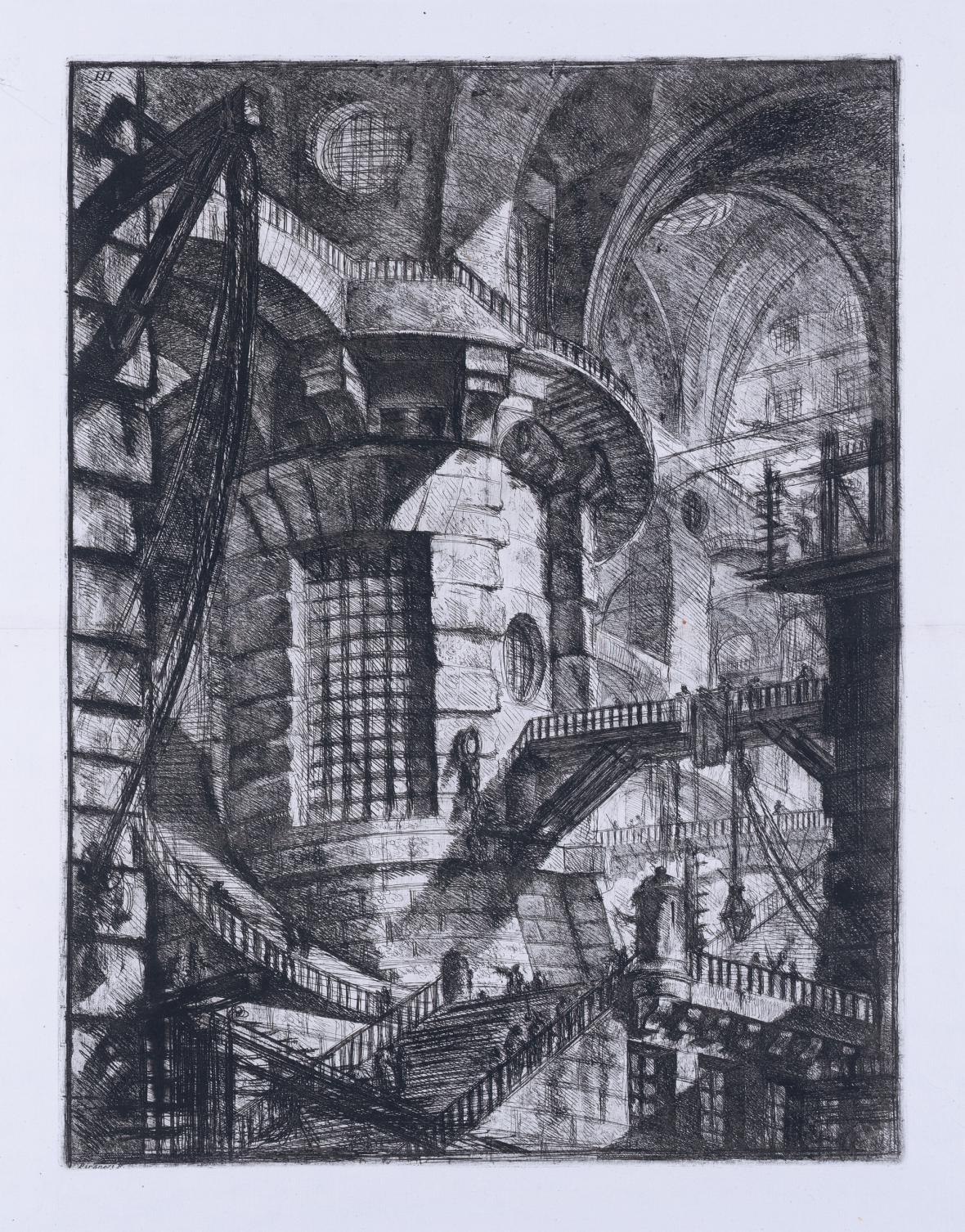 Giovanni Battista Piranesi / Válcová věž, z cyklu Žaláře, 1749-50