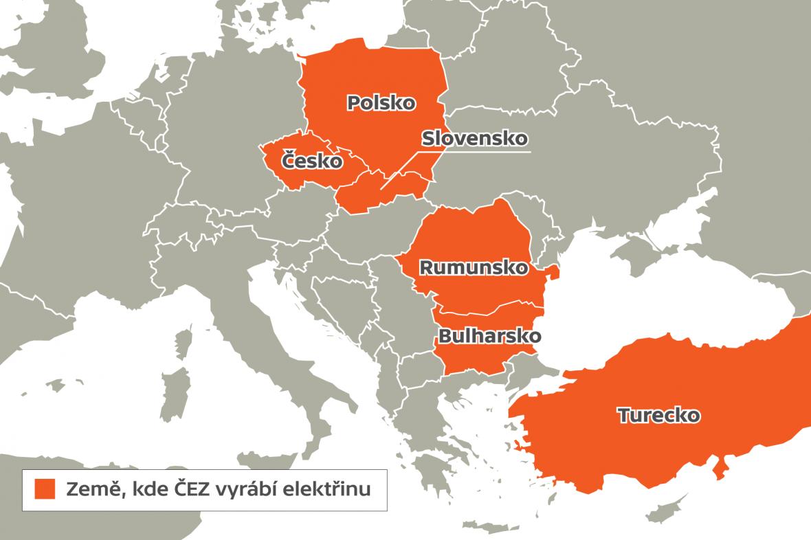 Země, kde ČEZ vyrábí elektřinu