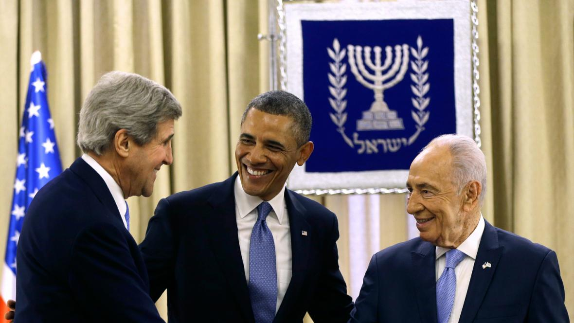John Kerry, Barack Obama a Šimon Peres
