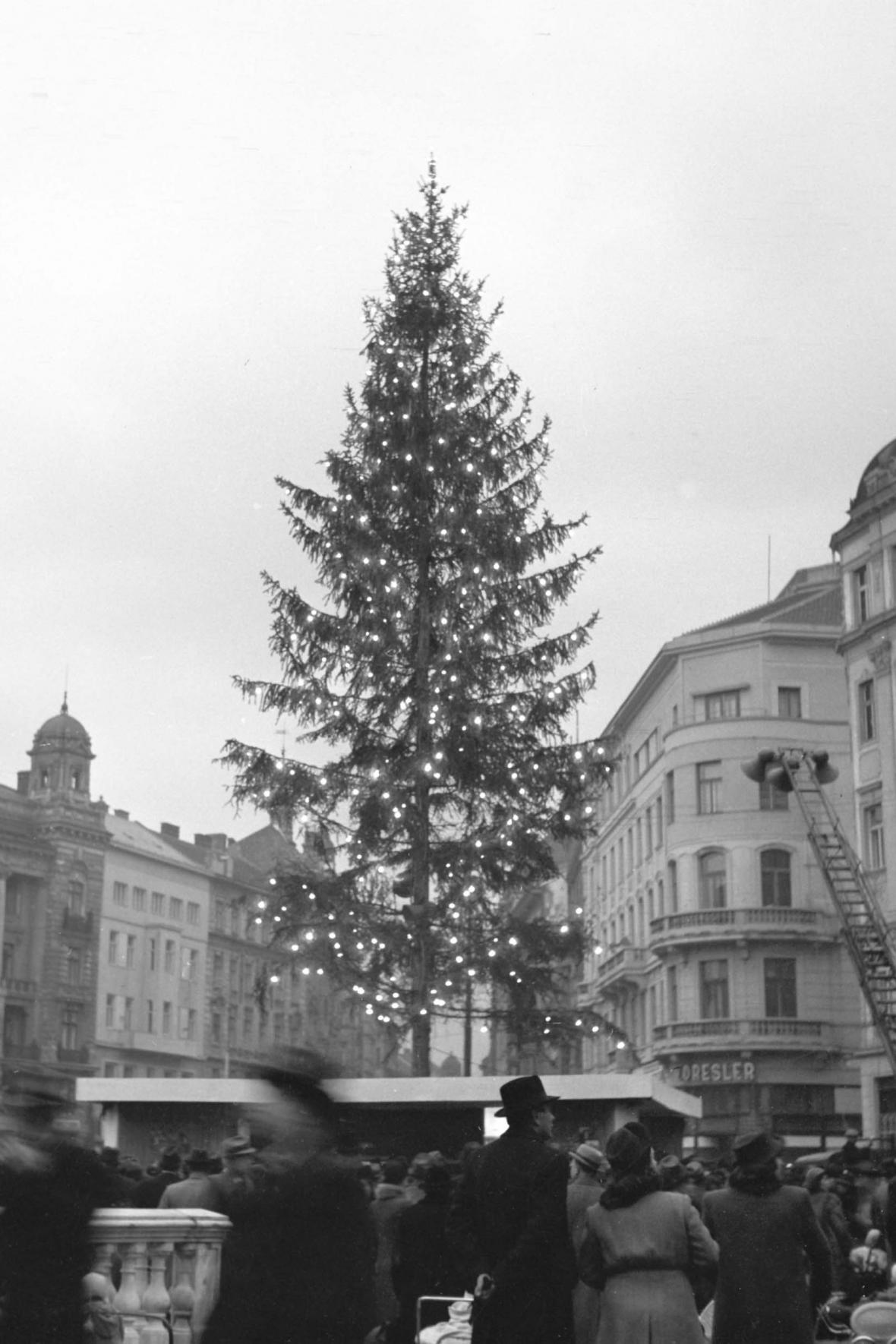 Vánoční strom na náměstí Svobody v roce 1947