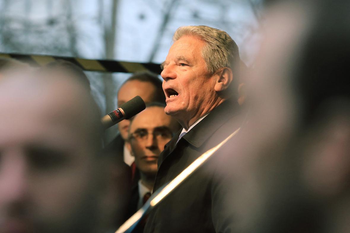 Joachim Gauck při projevu na Albertově