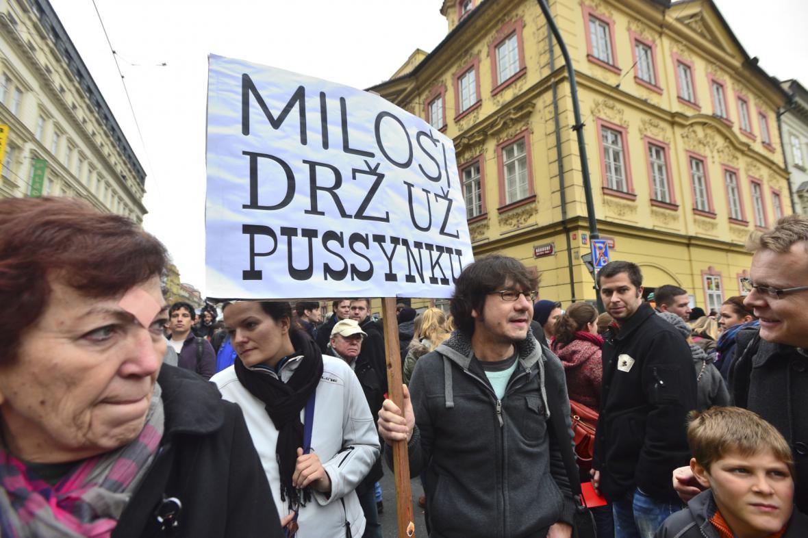25. výročí 17. listopadu - protest proti Zemanovi v Brně