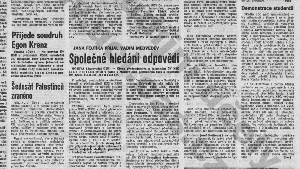 Rudé právo 18. listopadu 1989