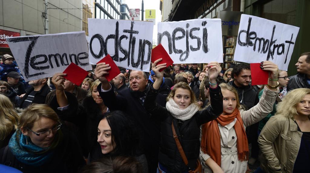 Kritici prezidenta Miloše Zemana na Národní třídě