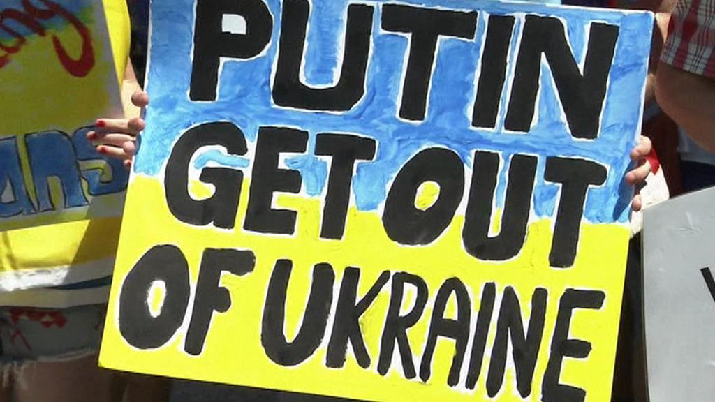 Vzkaz demonstrantů v Brisbane pro prezidenta Putina