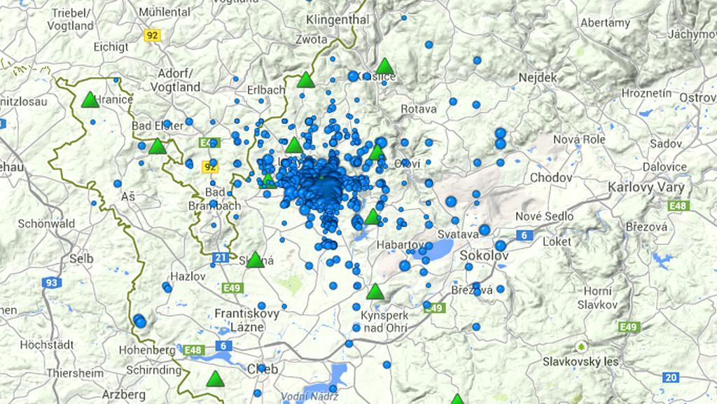 Oblasti nejvýraznějších otřesů za uplynulé dva měsíce