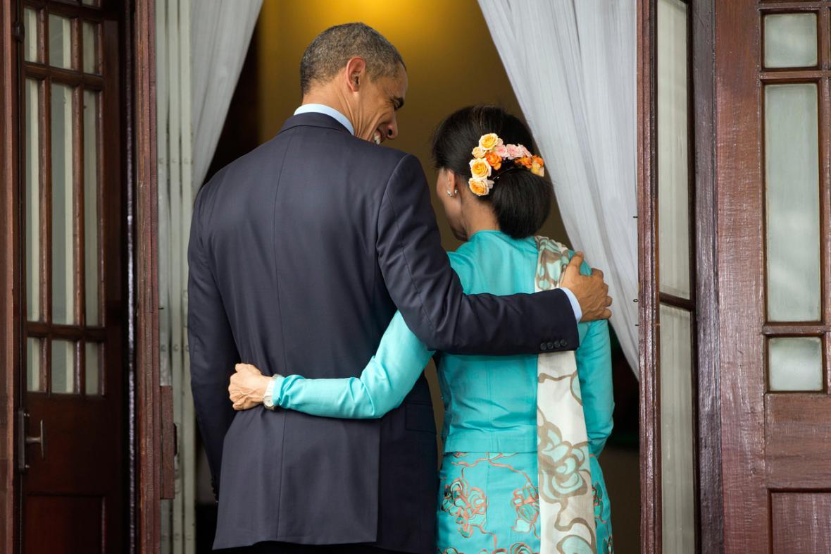 Barack Obama a Su Ťij po společném brífinku