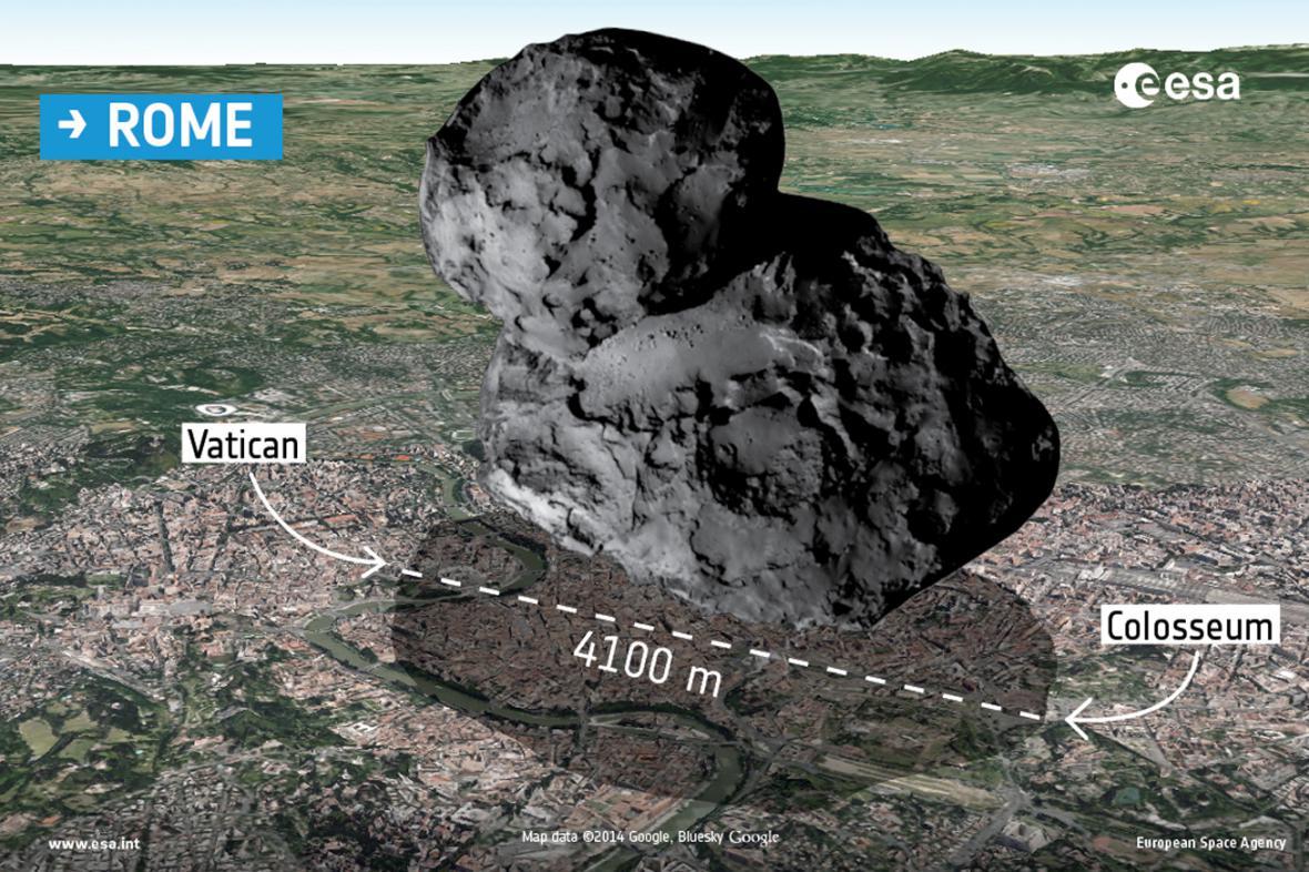 Porovnání velikosti komety 67P/Churyumov-Gerasimenko s Římem