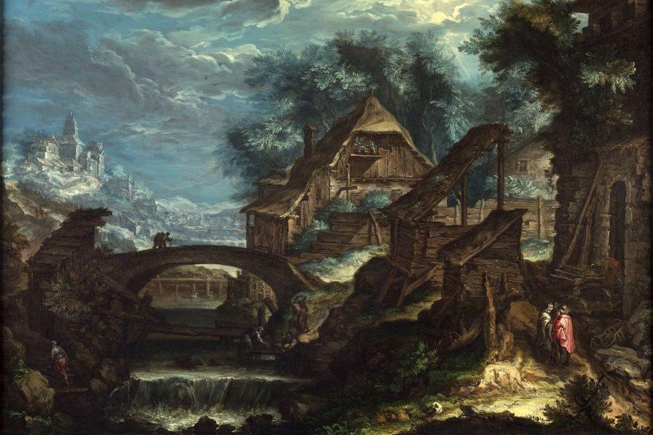 Krajina s mostem od Pietera Stevense