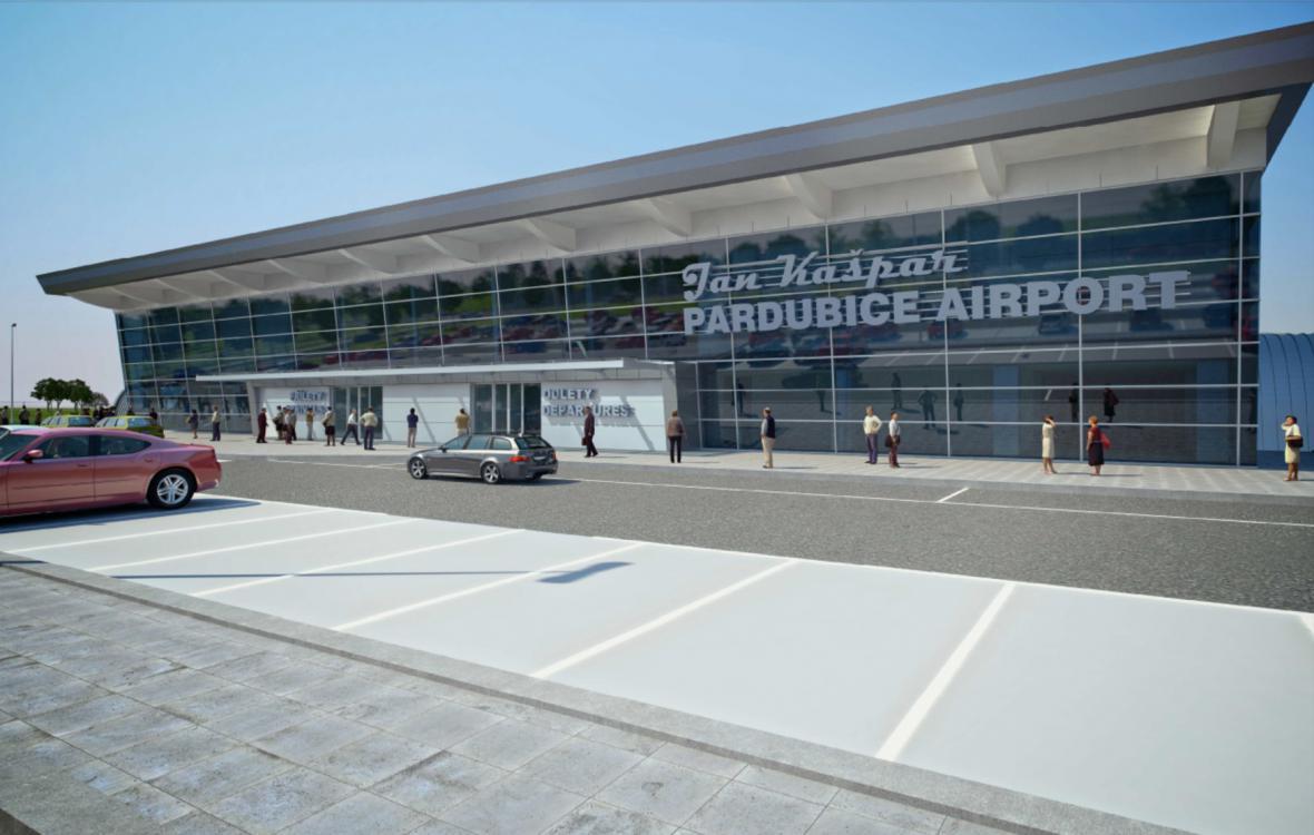 Vizualizace nového terminálu pardubického letiště