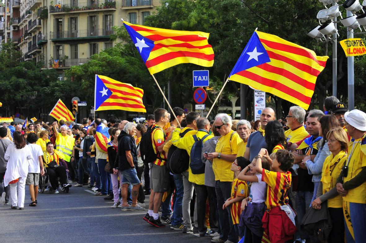 Lidský řetěz na podporu nezávislosti Katalánska
