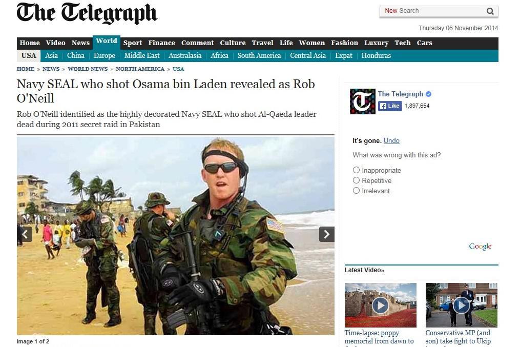 Telegraph píše o muži, který zabil bin Ládina