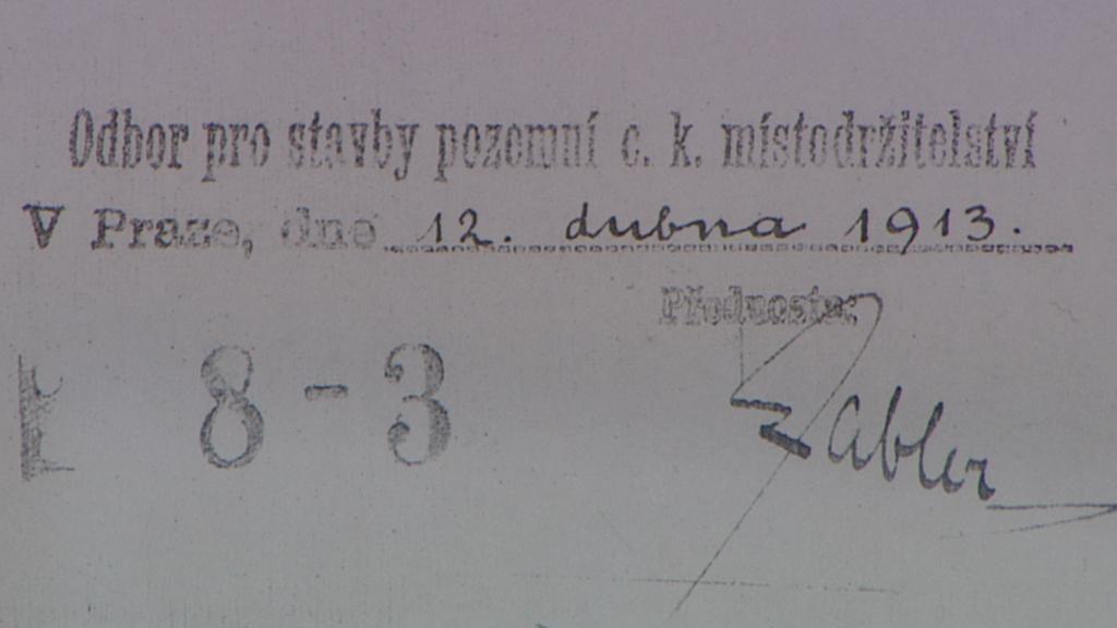 Plány na stavbu gymnázia - razítko a podpis z roku 1913