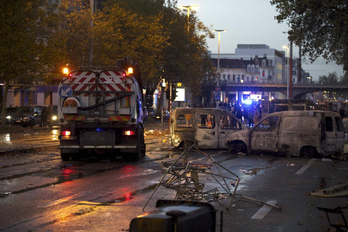 Následky střetů v Bruselu