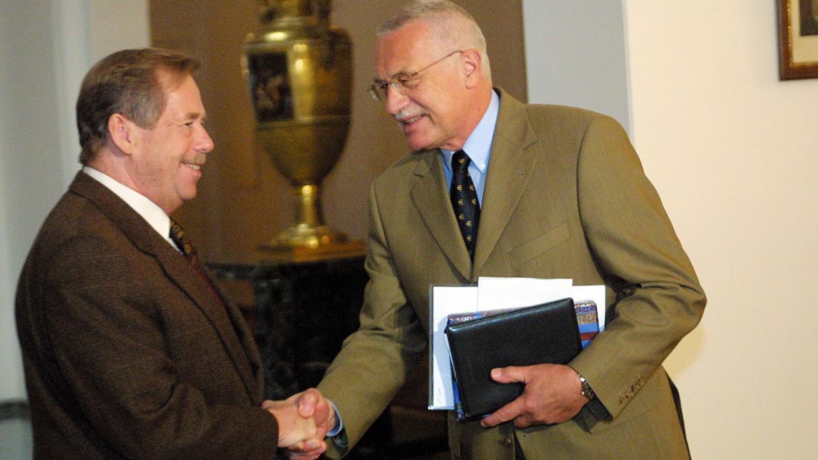 Václav Havel s Václavem Klausem