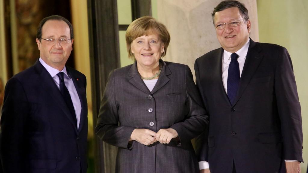 Hollande, Merkelová a Barroso