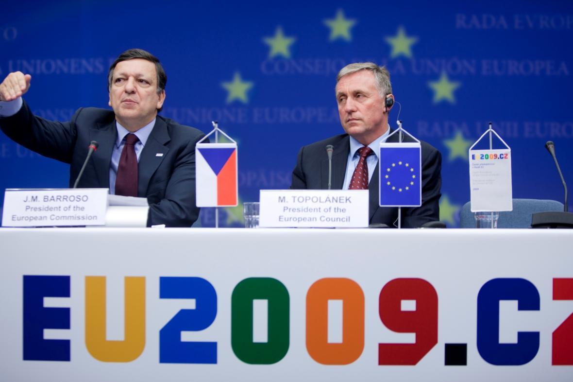 S Mirkem Topolánkem během českého předsednictví EU