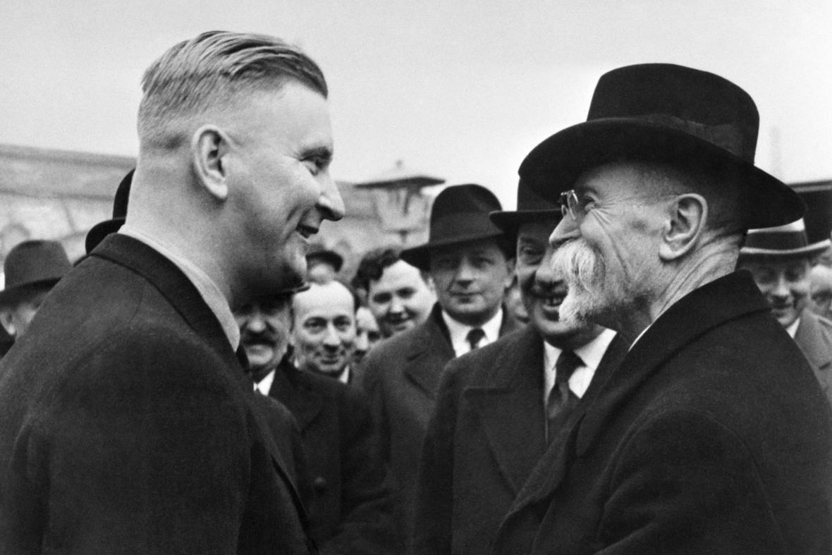 Prezident Tomáš Garrigue Masaryk s Janem Baťou (1933)