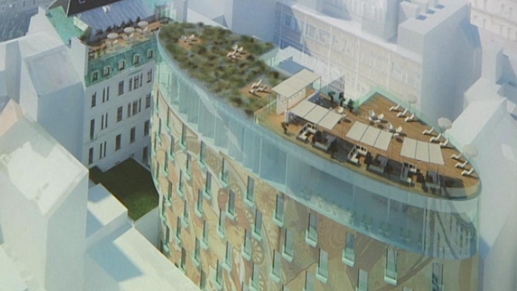 Vizualizace novostavby ve vnitrobloku za hotelem Evropa