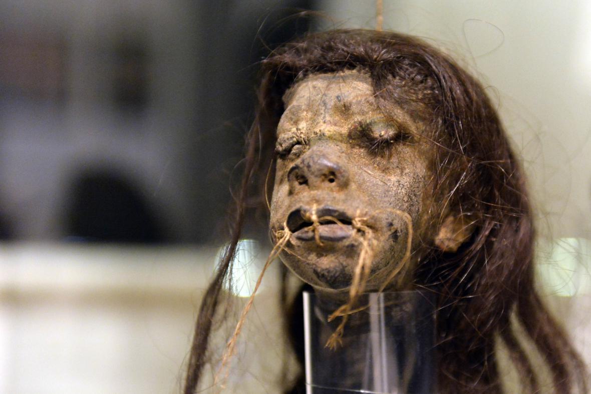 Preparovaná lidská hlava zvaná tsantsa