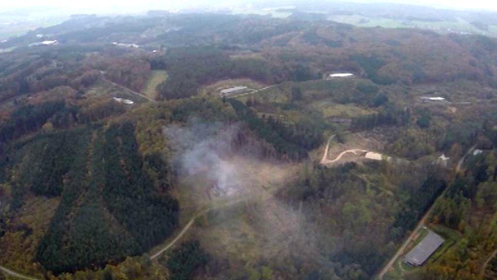 Hořící muniční sklad ve Vrběticích