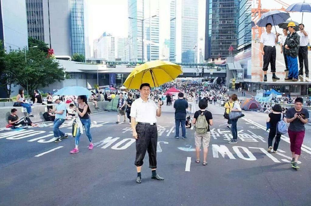 Čínský prezident s deštníkem - šlágr na sociálních sítích v Hongkongu