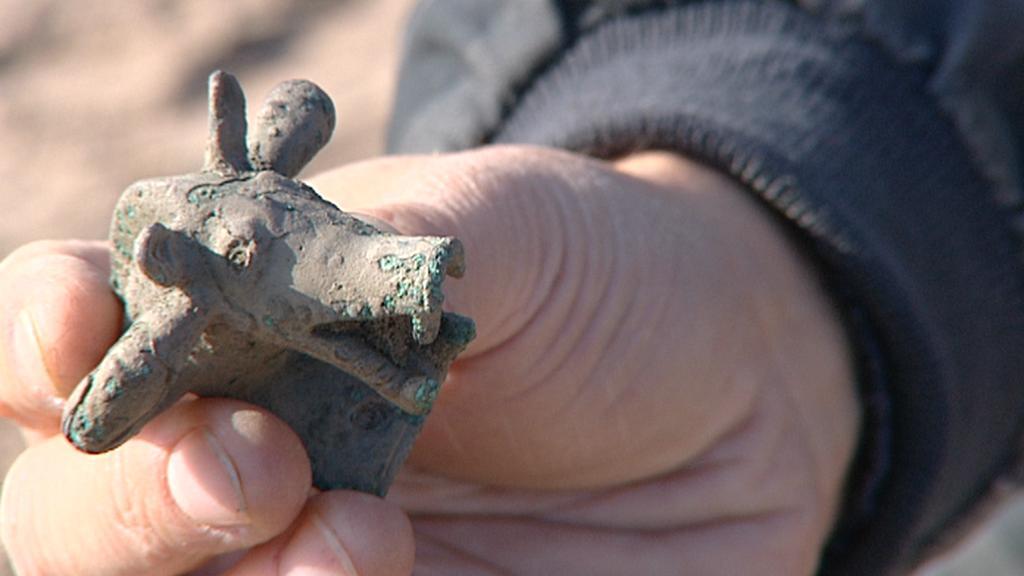 Bronzová aplika - pravděpodobně hlava kance