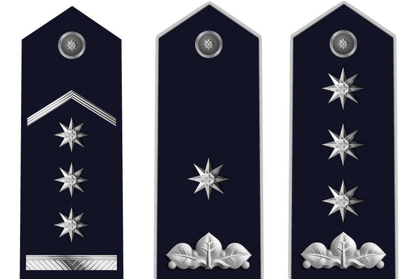 Policejní hodnosti (zleva): plukovník, brigádní generál, generálporučík