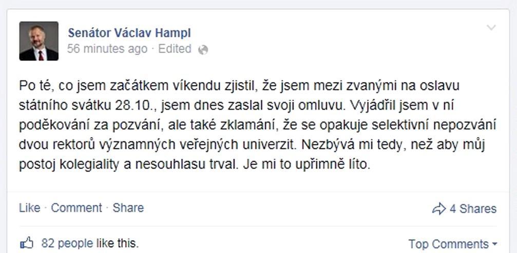 Senátor Václav Hampl nedorazí k Zemanovi
