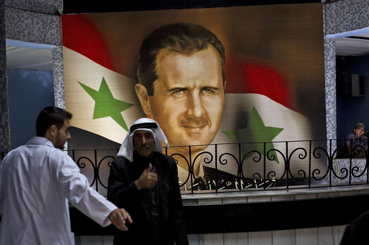 Portrét Bašára Asada v damašské nemocnici