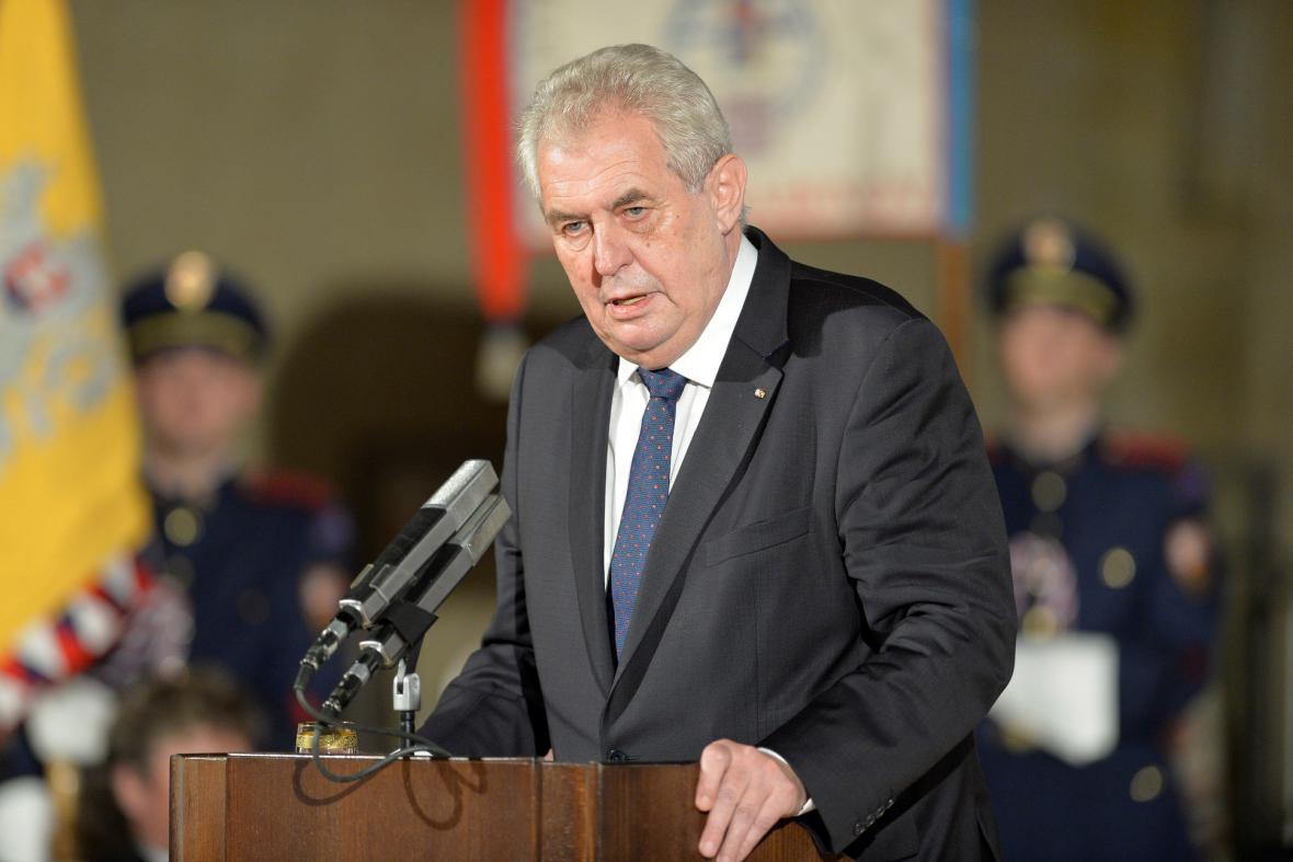 Miloš Zeman při slavnostním projevu