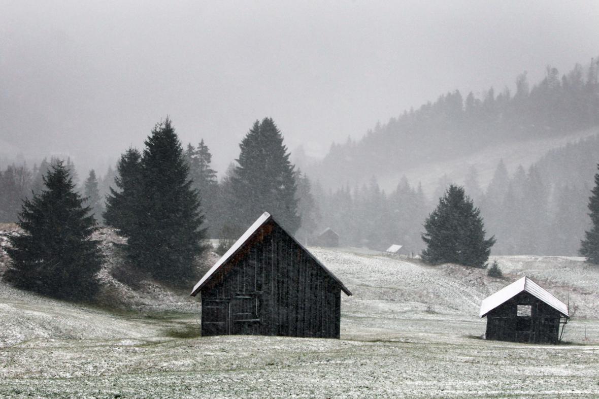 Do Bavorska přišel první sníh
