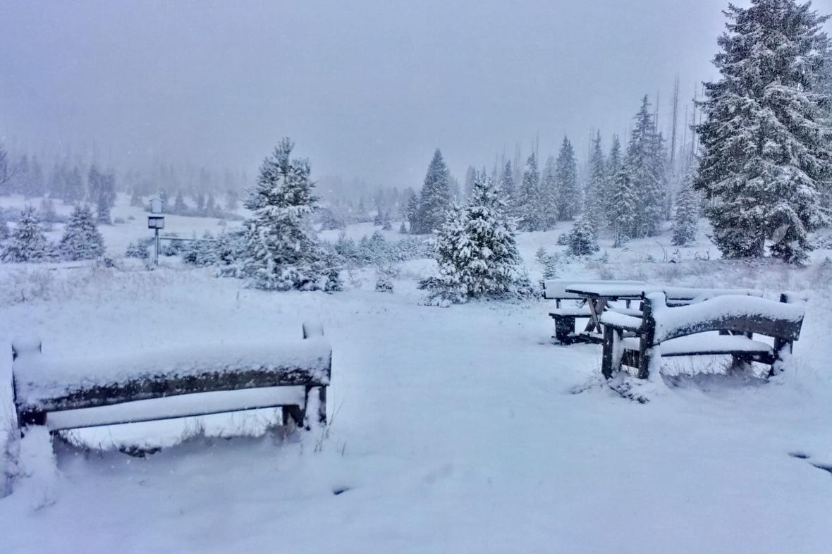 První sníh na Šumavě v lokalitě Březník