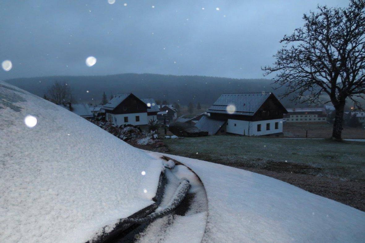 První sníh na Šumavě