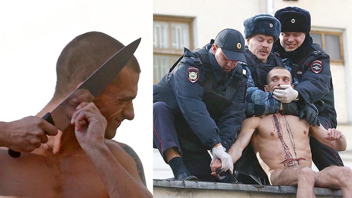 Pjotr Pavlenskij si uřízl ušní lalůček