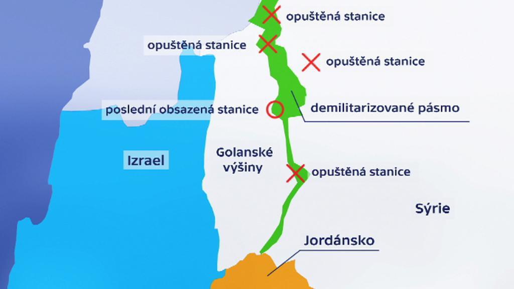 Golanské nížiny a kontrolní stanice OSN