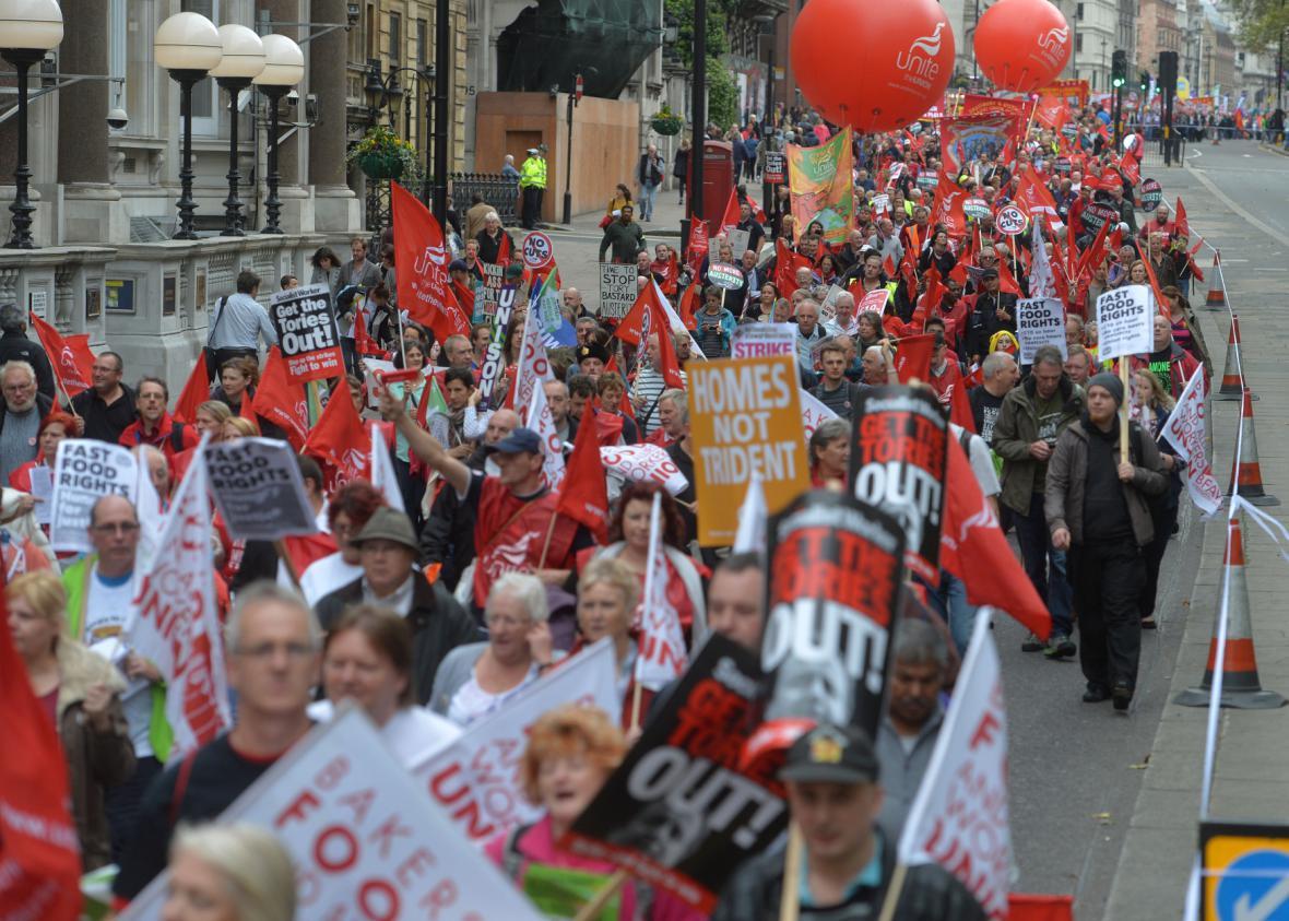 Demonstrace odborářů v Londýně