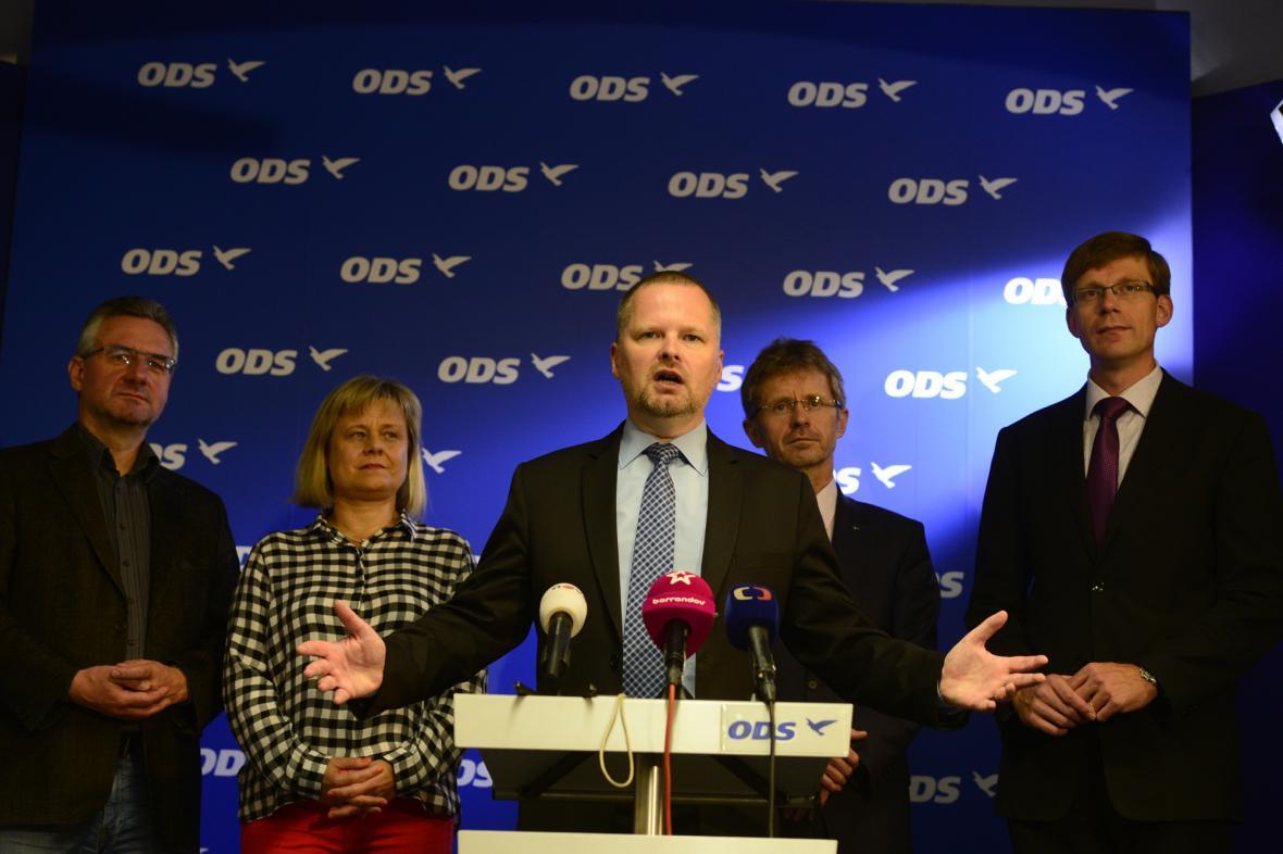 Předseda ODS Petr Fiala na tiskové konferenci strany