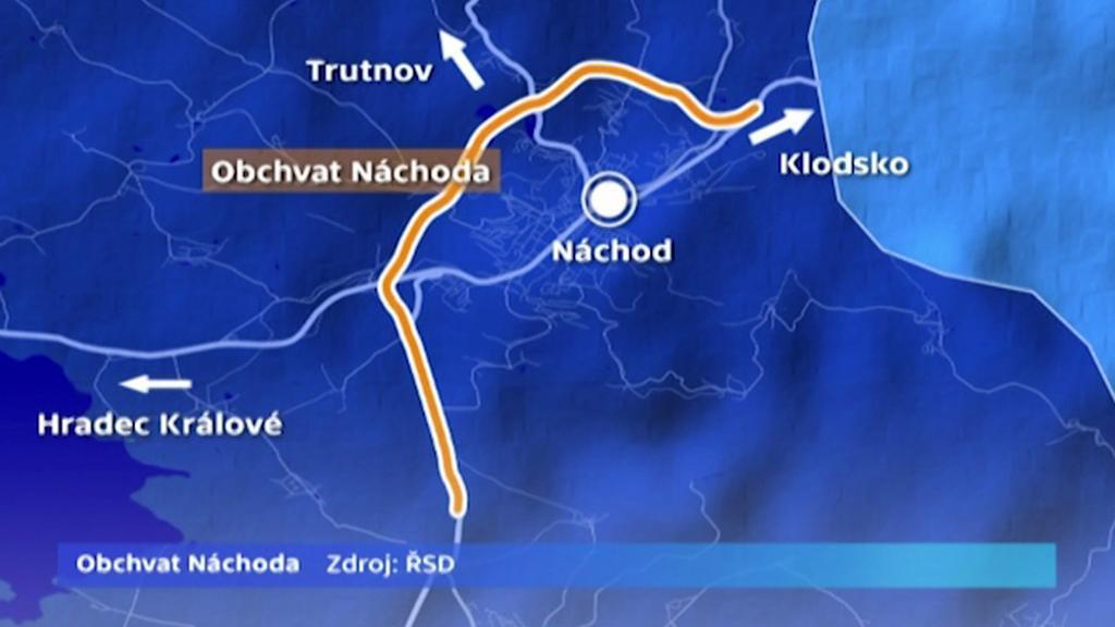 Mapa obchvatu Náchoda