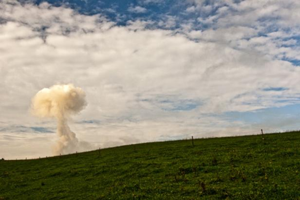 Hřib, který vznikl po výbuchu nad Vrběticemi