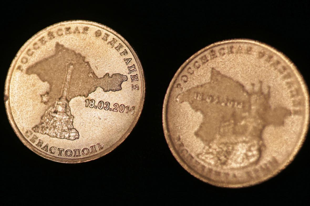 Ruské pamětní mince věnované připojení Krymu k Rusku