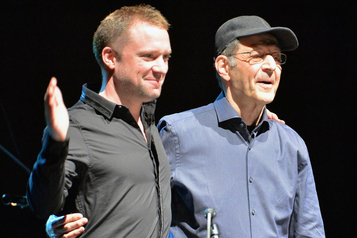 Colin Currie a Steve Reich (vpravo) na Strunách podzimu 2014